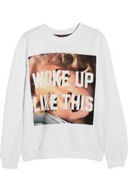 Finds + Untitled&Co Woke Up Like This printed cotton-blend sweatshirt