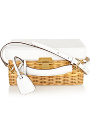 Grace rattan and leather shoulder bag