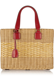 Manray leather-trimmed rattan tote