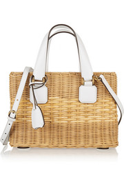 Manray small rattan and leather tote
