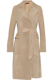 The Row Triklon suede wrap coat