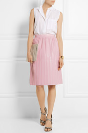 Suno Pleated faux leather skirt