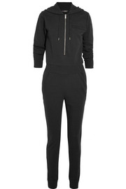 DKNY + Cara Delevingne hooded cotton French terry jumpsuit