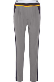+ Cara Delevingne satin-crepe tapered pants