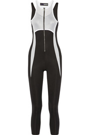 DKNY + Cara Delevingne mesh-paneled stretch-jersey jumpsuit