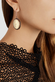 Amedeo Rose gold-plated, faux ivory and diamond snake cameo earrings