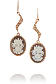 Rose gold-plated, sardonyx shell and diamond monkey cameo earrings