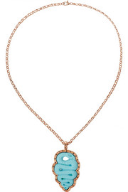 Rose gold-plated, faux turquoise and diamond snake cameo necklace