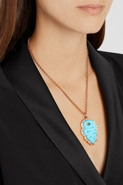 Amedeo Rose gold-plated, faux turquoise and diamond snake cameo necklace