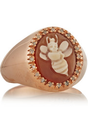 Amedeo Rose gold-plated, carnelian shell and diamond honey bee cameo ring