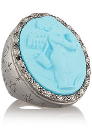 Rhodium-plated, faux turquoise and diamond cupid cameo ring
