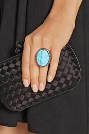 Amedeo Rhodium-plated, faux turquoise and diamond cupid cameo ring