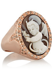 Amedeo Rose gold-plated, sardonyx shell and diamond devil cameo ring