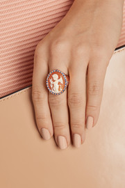 Amedeo Rose gold-plated, carnelian shell and sapphire devil cameo ring