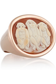 Amedeo Rose gold-plated carnelian shell monkey cameo ring