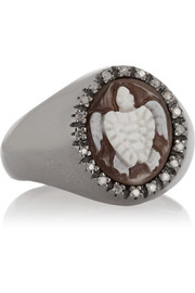 Amedeo Rhodium-plated, sardonyx shell and diamond turtle cameo ring