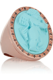 Rose gold-plated, faux turquoise and diamond cherub cupid ring