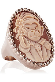 Amedeo Rose gold-plated, carnelian shell and diamond monkey cameo ring