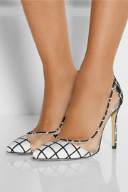 Bionda Castana Bay mesh-paneled satin pumps