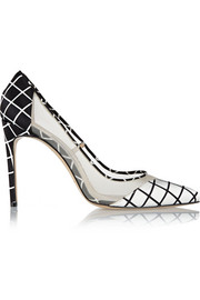 Bay mesh-paneled satin pumps