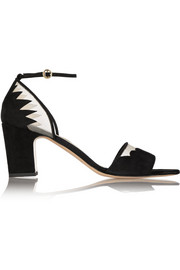Cecile mesh-trimmed suede sandals