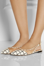 Bionda Castana Romy checked leather and mesh flats
