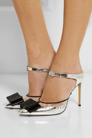 Bionda Castana Atlanta mesh-trimmed mirrored-leather pumps