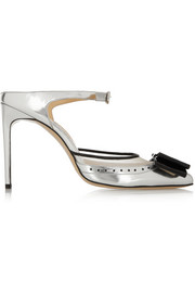 Atlanta mesh-trimmed mirrored-leather pumps