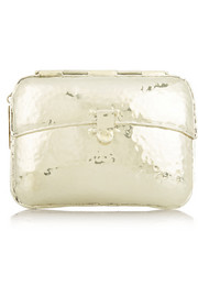 Hammered silver-tone box clutch