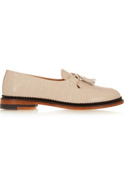 Polly croc-effect patent-leather loafers