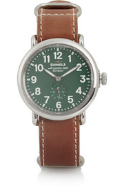 Runwell stainless steel and leather watch