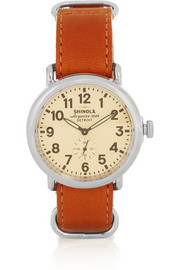 Shinola Runwell stainless steel and leather watch