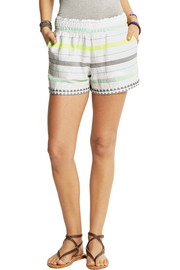 LemLem Lelaga striped cotton-blend gauze shorts