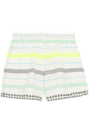 Lelaga striped cotton-blend gauze shorts