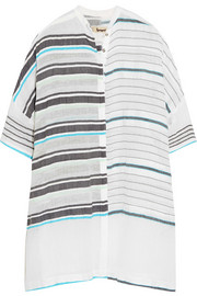 LemLem Abara striped cotton-blend gauze top
