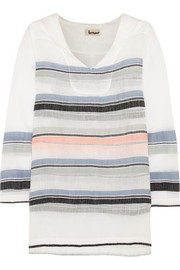 Saali striped cotton-blend gauze hooded top