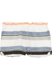Saali striped cotton-blend gauze shorts