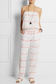 LemLem Abara striped cotton-blend gauze jumpsuit
