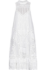 Zimmermann Porcelain paneled cotton and silk-blend dress