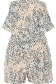 Essence printed cotton and silk-blend playsuit