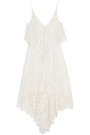 Essence embroidered silk-gauze dress
