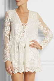 Zimmermann Essence embroidered silk-gauze playsuit