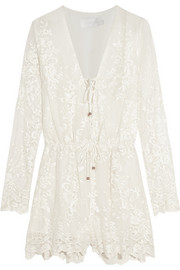 Essence embroidered silk-gauze playsuit