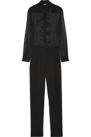 Stretch-silk chiffon and crepe jumpsuit