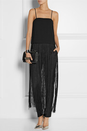 DKNY Fringed crepe top