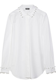 Faux pearl-embellished stretch-cotton shirt