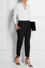 DKNY Faux pearl-embellished stretch-cotton shirt