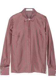 Gingham-print silk-faille shirt