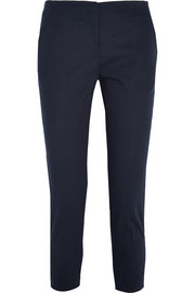 Cotton-blend twill straight-leg pants