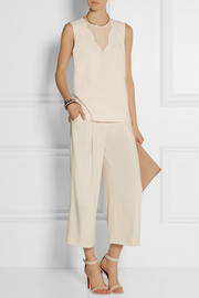 DKNY Stretch silk-paneled crepe top